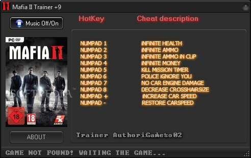 Mafia II v1.0.0.1 +9 Trainer